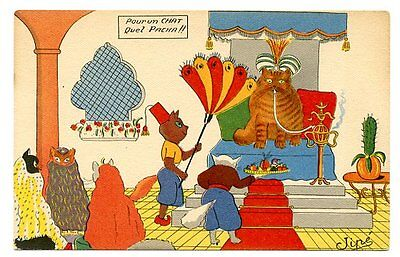 vintage cat postcard Jipe dressed cats w turban smokes hookah pipe fanned harem