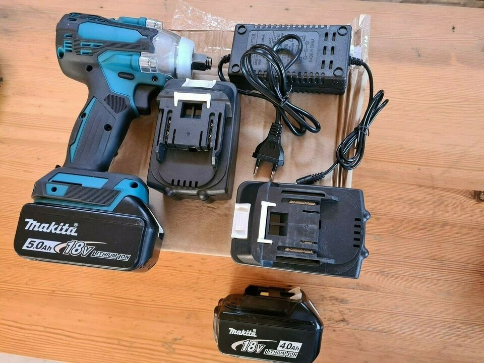 Slagnøgle med 2 batterier, DrillPro for Makita 18V