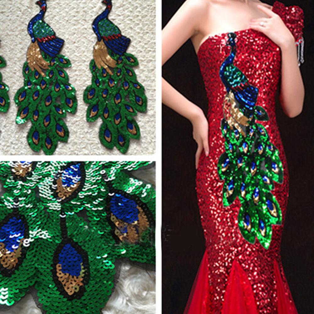 8f958a7867e3a Details about 1Pc Embroidered Sequins Peacock Applique Sew Trim Motif  Dancewear Garment Decor