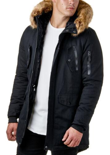 Burocs BR7128 Herren Parka Mantel Winter Jacke Fell Schwarz Khaki XS-XL