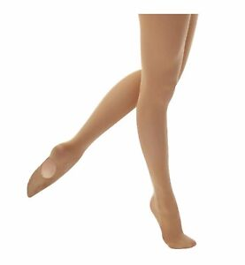 Girls-Womens-Soft-Convertible-Transition-Foot-Ballet-Dance-Tights-60-Denier-Tan