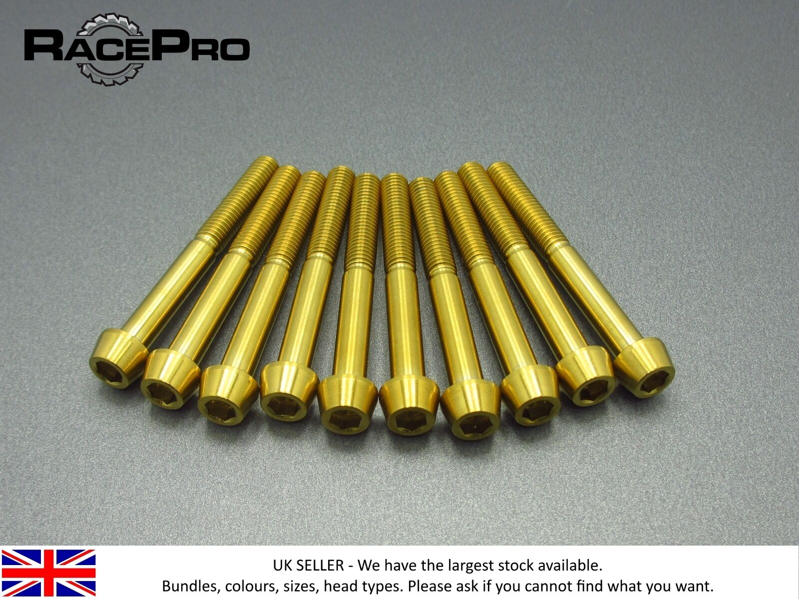 RacePro - 6x Titanium Tapered Bolt GR5 - M6 x 45mm x 1mm - Allen Head - gold