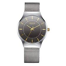 JULIUS JA-577MC Men Wrist Watch Black Ultra-Thin Dial Silver New /C1
