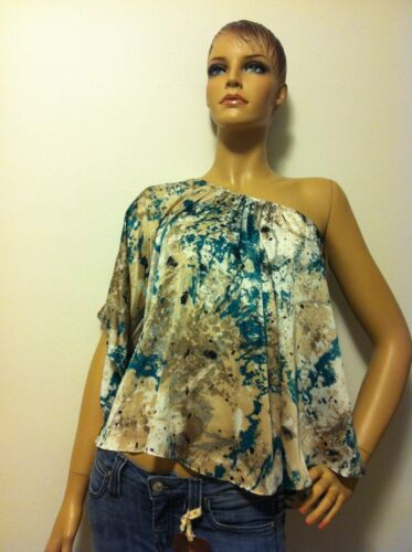 T-Bags Los Angeles One Shoulder Blouse Turquoise Splatter Top