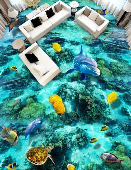 3D Bel Mer 53 Fond d'écran étage Peint en Autocollant Murale Plafond Chambre Art