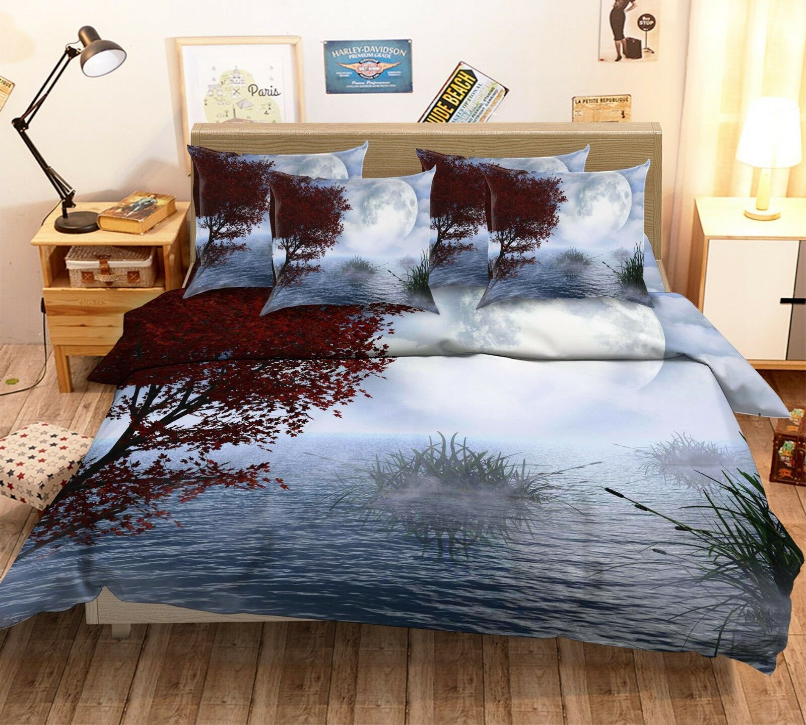 3D Moon Lake Woods 87 Bed Pillowcases Quilt Duvet Cover Set Single Queen King CA