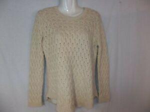 Jeanne-Pierre-Women-039-s-Fisherman-Cable-Knit-Crewneck-Sweater-Beige-sz-L