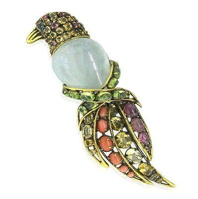 Estate Iradj Moini Colored Stone Bird Brooch