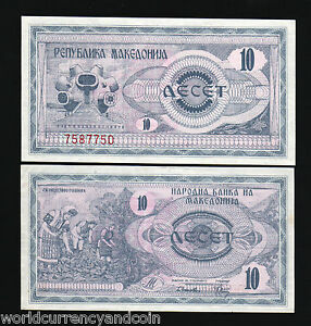 MACEDONIA-10-DINARA-P1-1992-BUNDLE-FIRST-BANKNOTE-UNC-CURRENCY-MONEY-100-NOTES