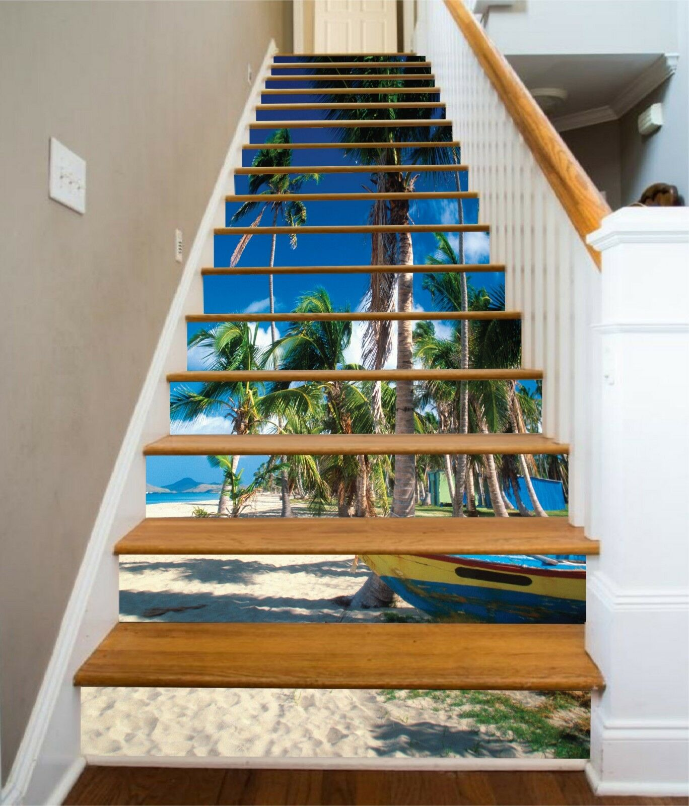 3D Boat Trees Beach Stair Risers Decoration Photo Mural Vinyl Decal Wallpaper US
