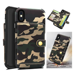 quality design 644c4 0cca3 Details about Army Camouflage Camo Card Holder Wallet Case Back Cover For  iPhone X 6 7 8 Plus