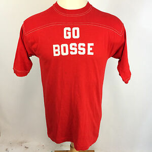 Vintage-70s-80s-Evansville-Bosse-High-School-Gym-Sport-T-Shirt-Surf-Red-Bulldog