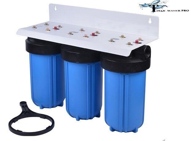 Whole House Filter (3) Big bleu 10 x4.5  - 1  NPT- PR KDF 55-GAC Carbon Sediment