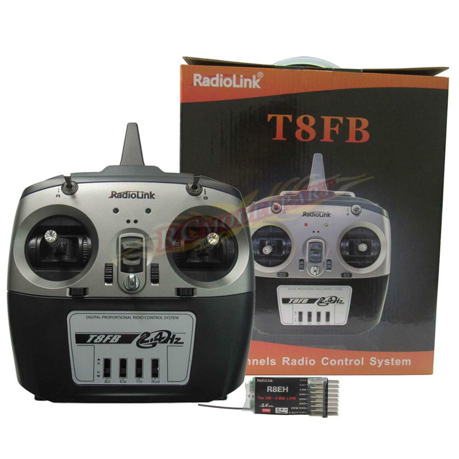 Radiolink 2.4G T8FB R8EH sistema de control remoto 8CH Transmisor Receptor & modo 2