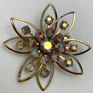 Vintage-Aurora-Borealis-AB-Rhinestone-Gold-Tone-Flower-Brooch-Pin-Riveted-Floral