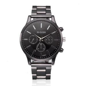 Elegant-montre-Homme-Cadran-Noir-Or-Inox-Acier-Date-Quartz-Montre-Luxe