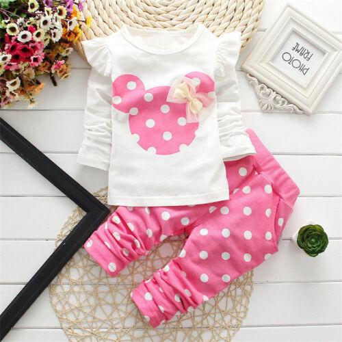 Toddler Baby Girls Minnie Mouse Outfits Clothes T-shirt Tops Long Pants 2PCS Set