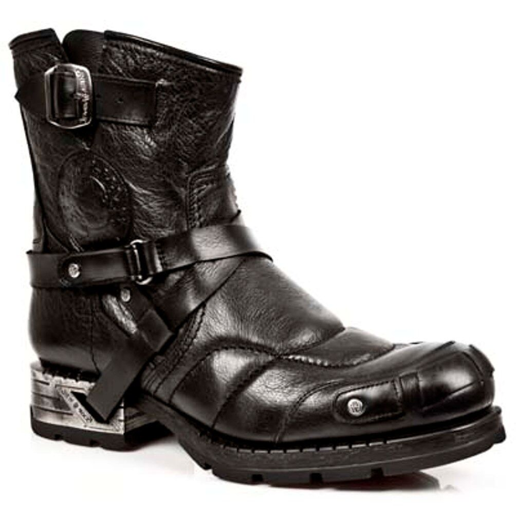 New Rock Boots Unisex Punk Gothic Stivali - Style MR004 S1 Black