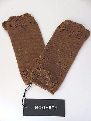 Hogarth cashmere pointelle wrist warmers chocolate brown NEW womens wool gloves