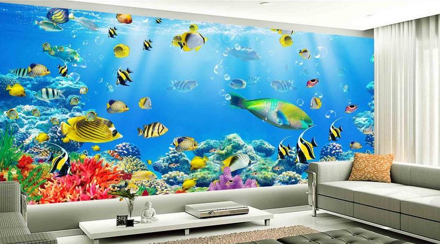 3D Tropisch Fisch Meer 888 Tapete Wandgemälde Tapete Tapeten Bild Familie DE