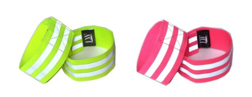 Pair Yellow Pink Bonus reflective sticker LW Reflective Ankle Band Wristband