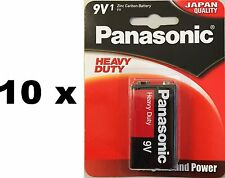 10 Panasonic Heavy Duty 9V batteries Bulk wholesale lot EN22 smoke alarm