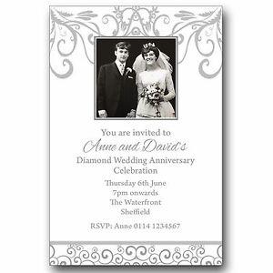60Th Wedding Anniversary | 10 Personalised Photo Invitations 60th Diamond Wedding Anniversary