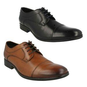 Mens Clarks Banfield Cap Black Leather Lace Up Shoes