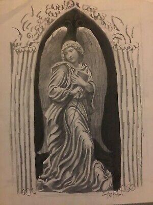 Vtg Josef M Kozak Original Guardian Angel Portrait Drawing Signed Unframed Ebay