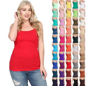 b636b6d57e54a9 TheMogan Women s PLUS Color Basic Spaghetti Strap Tank Top Plain ...