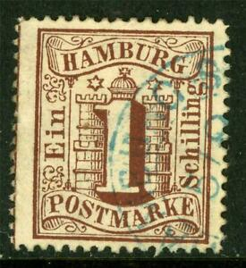 Germany-1864-Hamburg-1-Shilling-Brown-perf-13-SG-20-VFU-J887