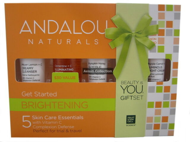 Andalou Naturals Brightening Get Started 5 mini's clear clean skin trave AUH-376