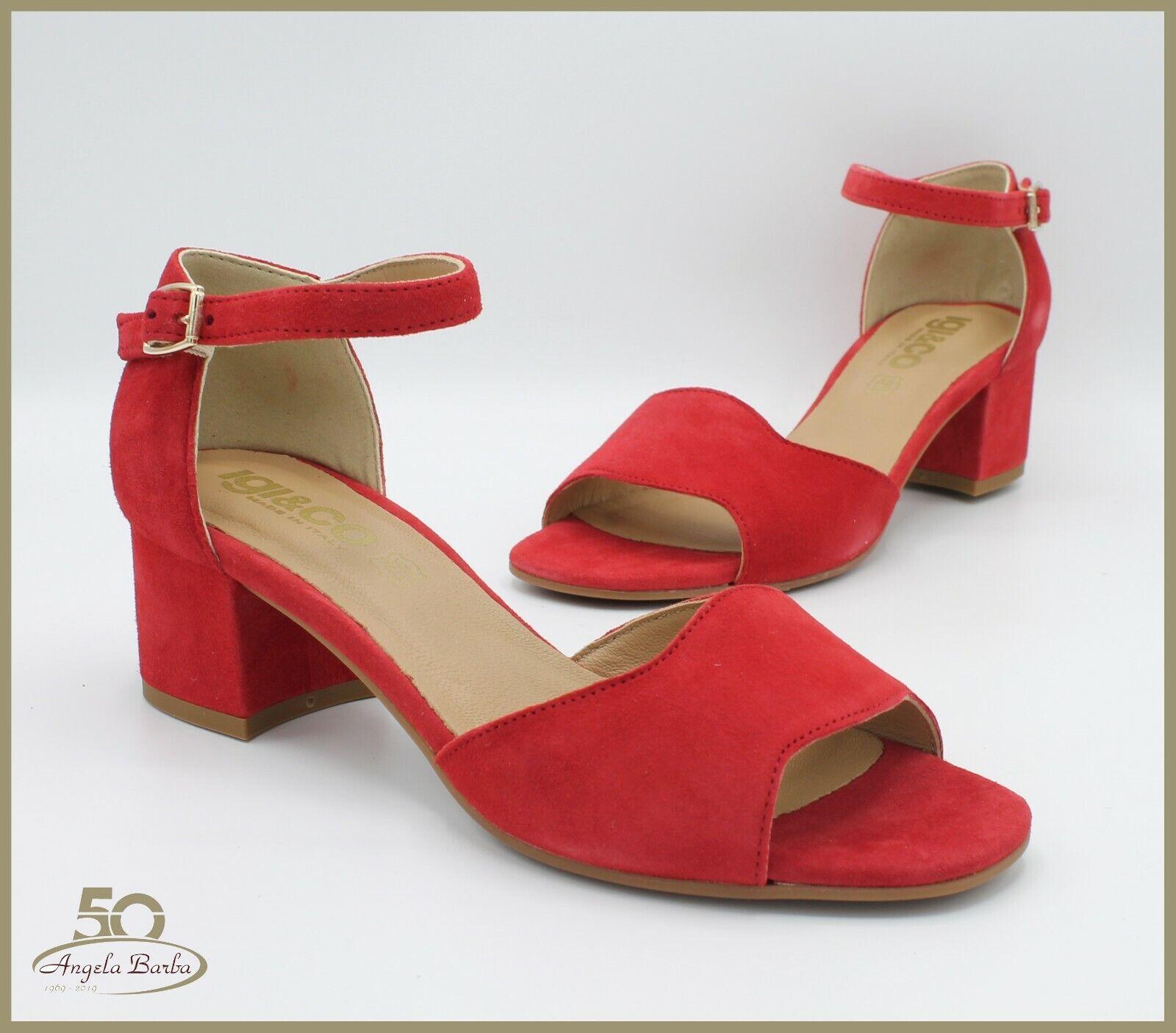 IGI & Co kvinnor Sandaler i röd mocka Heeled Elegant Elegant Elegant igieco Sandal  reklamartiklar