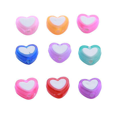1500x Hot Sale Mixed Colorful Heart Plastic Charm Beads 110835