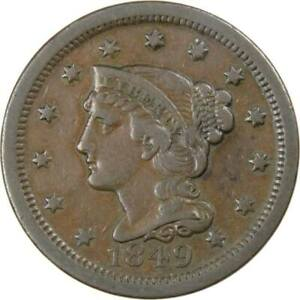 1849 Braided Hair Large Cent VF Very Fine Copper Penny 1c US Type Coin