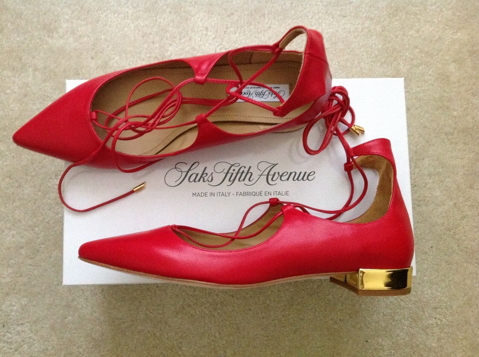 NEW Saks Fifth Avenue Avenue Avenue Christy Lace Up Flats Size 8 Red Leather Aquazzura style 3d1d02
