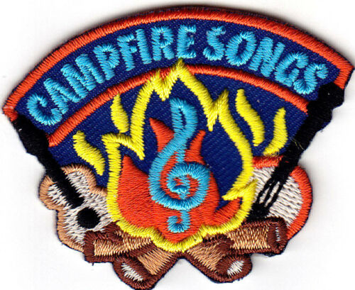 "Iron On Embroidered Applique Patch//Singing /""CAMPFIRE SONGS/"" Camping"