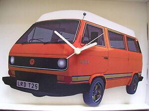 Orange-T25-Design-Classic-VW-Camper-Van-Wall-Clock-New-amp-Boxed
