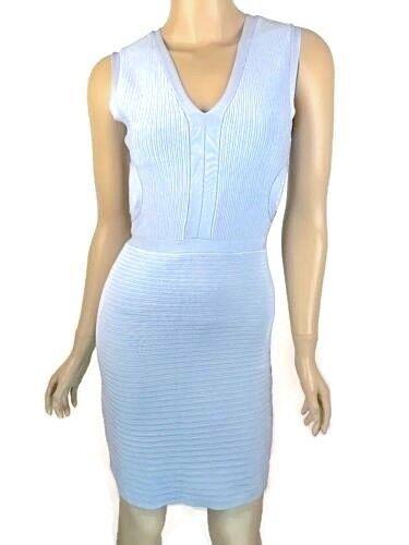 ISSA London New Sz M Light Blue Ribbed Stretch-Knit Sleeveless Dress V-Neck $594