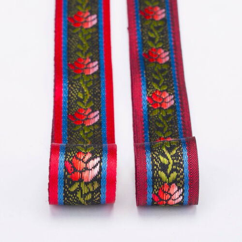 Neotrims Rose Flower Ribbon Trimming Embroidery Indian Sari Decorative Pattern