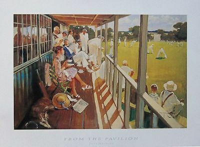 Cricket print, From The Pavilion, John Haskins print -51x34cm, cricket wall art