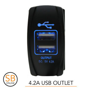 Dual-USB-Car-Charger-4-2A-BLUE-DC-Carling-ARB-Narva-Rocker-5V-Switch-12V-24V