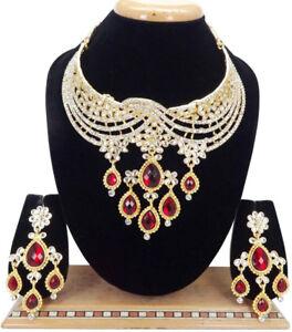 Indian Bollywood Jewelry Wedding Bridal Fashion CZ Statement Necklace Set 3 Pcs