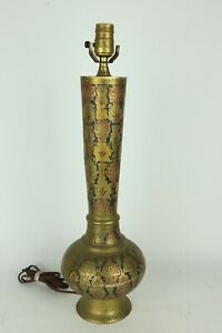 Vintage-Large-Engraved-Painted-Brass-Electric-Table-Lamp-Tested-Working