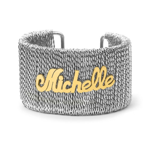 Personalized Stainless steel wire cuff bangle w// Custom Silver Plated Name