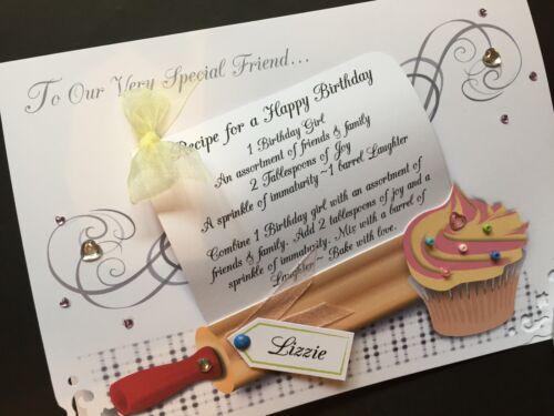 "Personalised Handmade /'anniversaire recette /""carte"