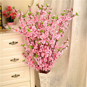 5xartificial cherry spring plum peach blossom branch silk flowers image is loading 5xartificial cherry spring plum peach blossom branch silk mightylinksfo