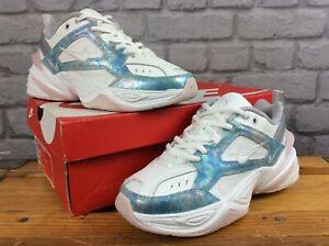 Nike Femmes UK 4 EU 37.5 MK2 TEKNO Bleu Blanc en Cuir Argenté Baskets RRP £ 90 LD