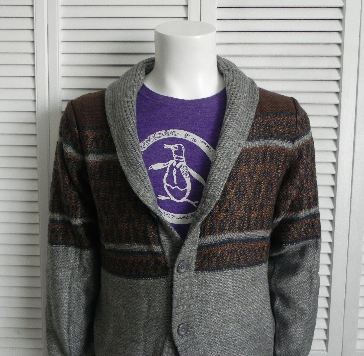 NEW  Herren SIZE L ALPACA grau Shawl Collar Cardigan Sweater Pattern PERU