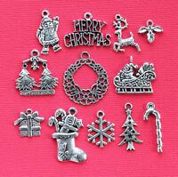 Christmas Charm Collection 12 Tibetan Silvertone Charms Free Shipping E129